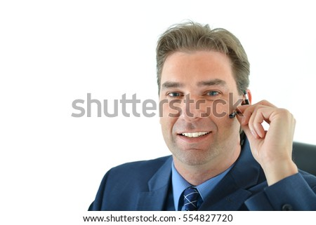 Business man on phone or customer service representative