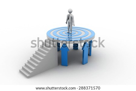 Business man on point target supported with arrows - stock photo