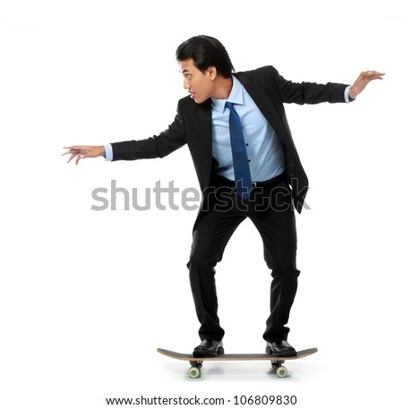 business man on skateboard isolated on white background