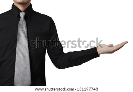 Business man open a hand - stock photo