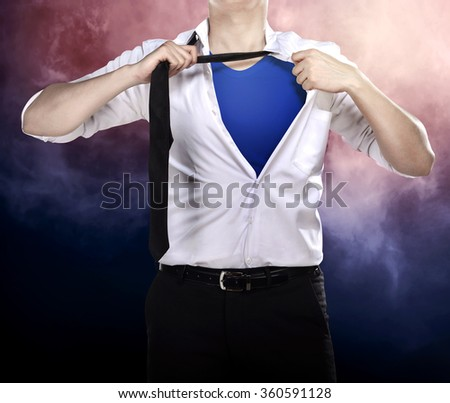 Business man open shirt like superhero try saving the day - stock photo