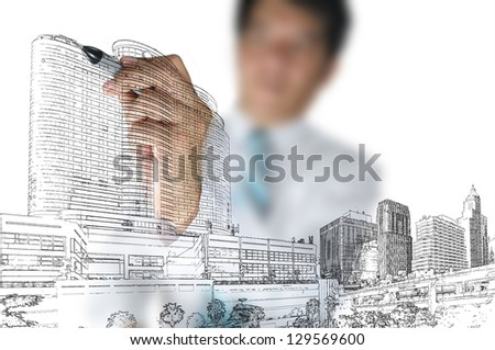 Business Man or architect draw building and cityscape - stock photo