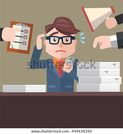 Business man over jobs - stock photo