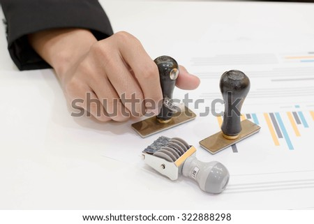 Business man paper document stamp. - stock photo