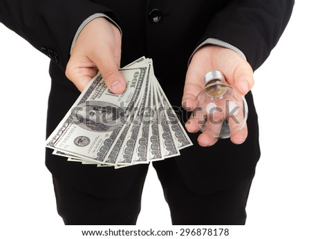Business man pay money for buy idea