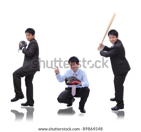 Business man ( pitcher, catcher and batter) - stock photo