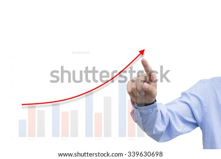 Business man point a growth graph on white background
