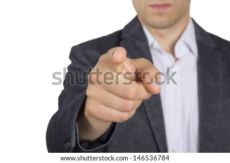 business man point his finger at you - stock photo