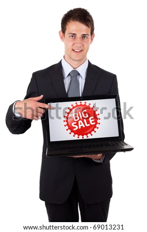 Business man pointing at a colorful sale label 3, isolated on white - stock photo