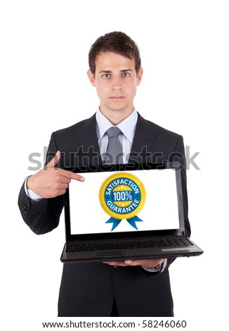 Business man pointing at a laptop computer isolated - stock photo