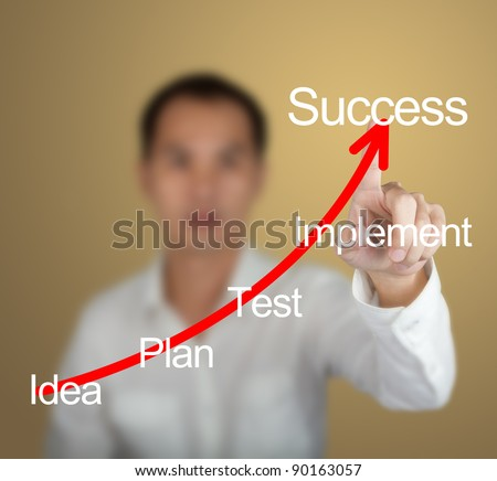 business man pointing at business plan and success arrow - stock photo