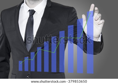 Business man pointing at finance growth chart, growing graph, increasing sales revenue, trending market stocks, equity investment return and successful business strategy as concept diagram. - stock photo