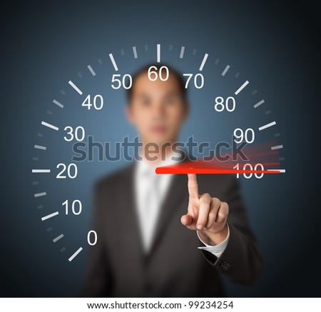 business man pointing at 100 percent speed - stock photo