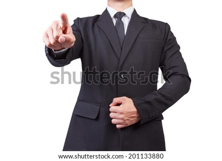 business man pointing at you choosing you for business on white background with clipping path