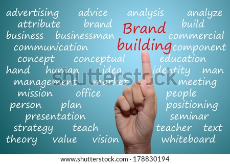 business man pointing brand building concept