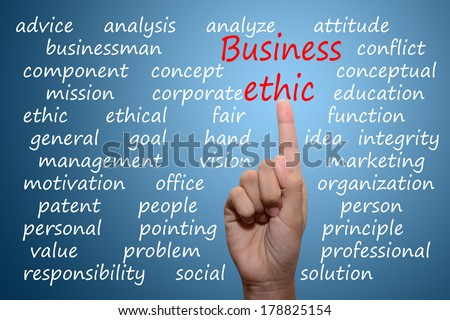 business man pointing business ethic concept  - stock photo