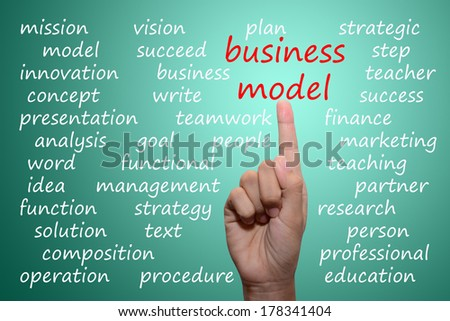 business man pointing business model concept