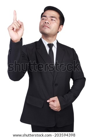 business man pointing his fingertips isolated on white background with clipping path - stock photo