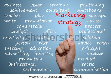 business man pointing Marketing strategy  concept