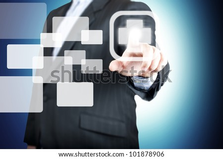 Business man pointing on the medical sign. Concept for health awareness