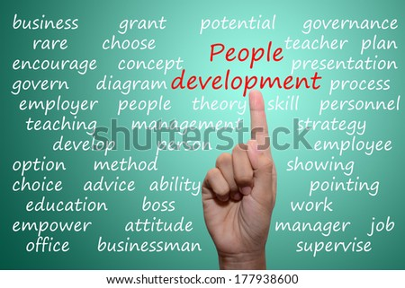 business man pointing people development concept
