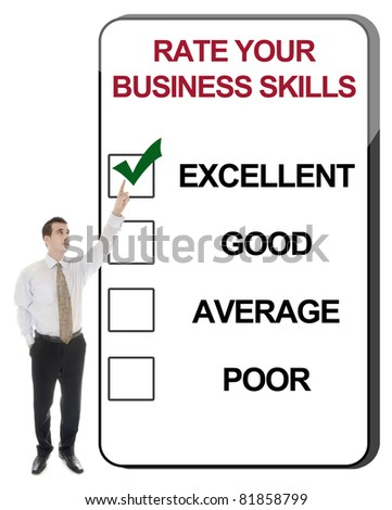 Business man pointing Rate Business Skills