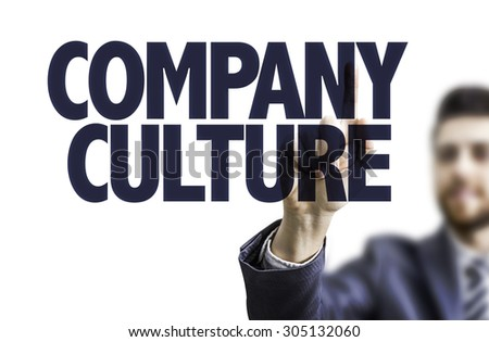 Business man pointing the text: Company Culture - stock photo