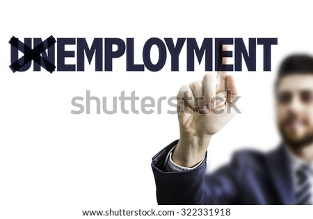 Business man pointing the text: Employment - stock photo