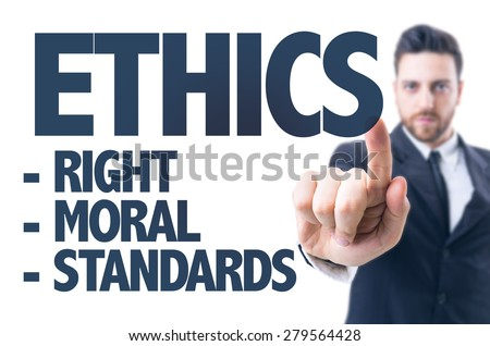Business man pointing the text: Ethics - stock photo