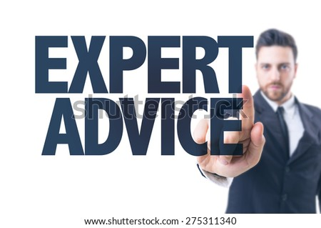 Business man pointing the text: Expert Advice - stock photo