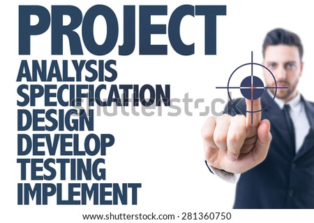 Business man pointing the text: Project - stock photo
