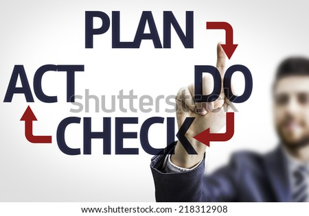 Business man pointing to transparent board with text: Plan Do Check Act - stock photo
