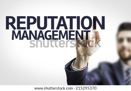Business man pointing to transparent board with text: Reputation Management  - stock photo