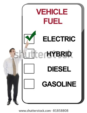 Business man pointing Vehicle Fuel