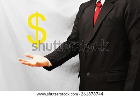 business man present dollar sign