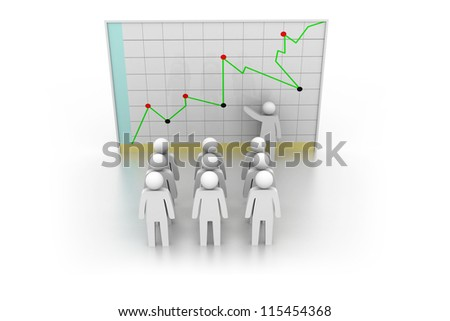 Business man presenting at a financial chart. Leadership and team. - stock photo