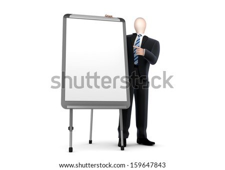 business man presenting in front of the whiteboard