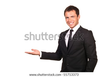Business man presenting over a white background - stock photo