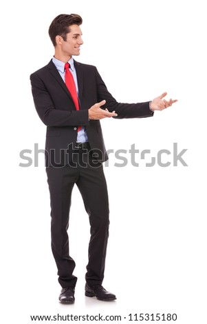 Business man presenting something or inviting you in on white background - stock photo