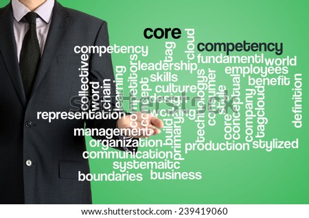 Business man presenting wordcloud related to core competency on virtual screen - stock photo