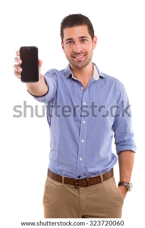 Business man presenting your product on a last generation smartphone