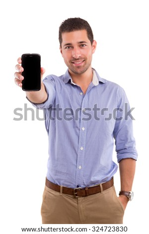 Business man presenting your product on a last generation smartphone - stock photo