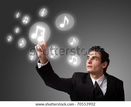 business man pressing a digital button - stock photo
