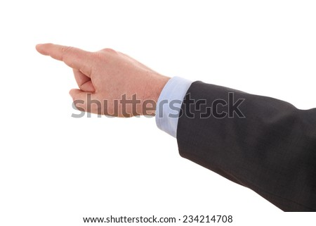 Business man pressing an imaginary button on white background - stock photo