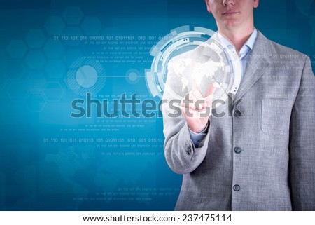 Business man pressing  button on digital virtual screen - stock photo