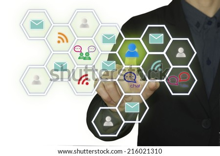 Business man pressing mobile app icons  - stock photo
