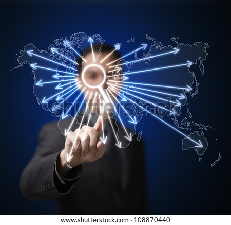 business man pressing search button on touchscreen to find anything on global network internet - stock photo