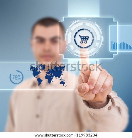 Business man pressing shopping cart button, futuristic digital technology