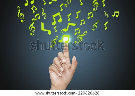 business man pressing the Music Score. - stock photo
