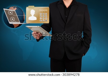 Business man protect envelope with top secret confidential file. - stock photo